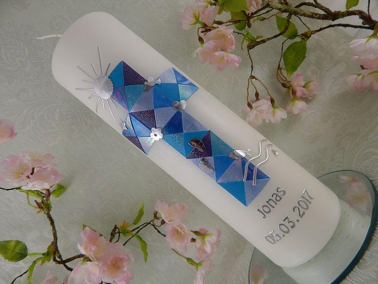 Taufe - Taufkerzen - Taufkerze - Taufkerze Kreuz - Taufkerze Junge - Taufkerze Mädchen - Taufkerze Mosaik - silber - blau - NEU von LenzKerzen auf Etsy