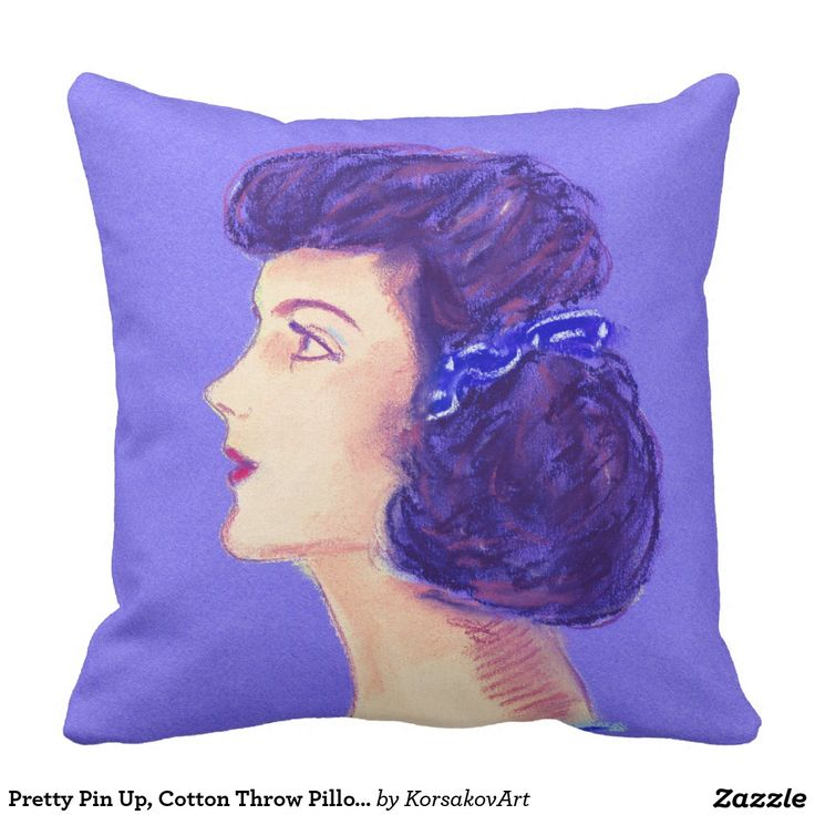 #Pretty Pin Up, Cotton Throw #Pillow 20x20 #pinup #interior #home #design #portrait