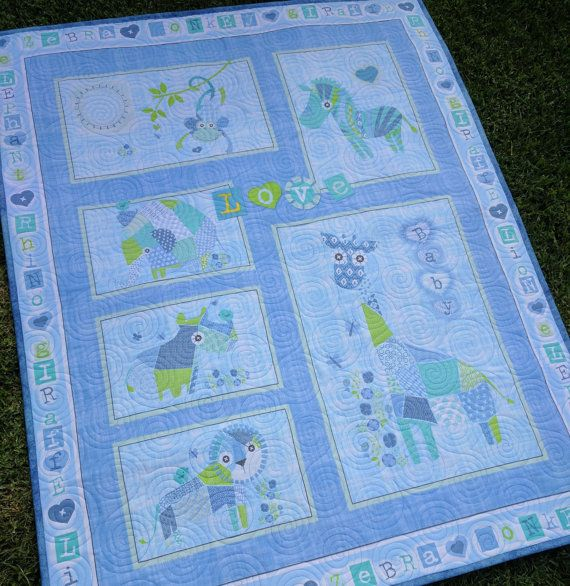 Crib quilt jungle animals  play mat blanket  by morethanjustquilts