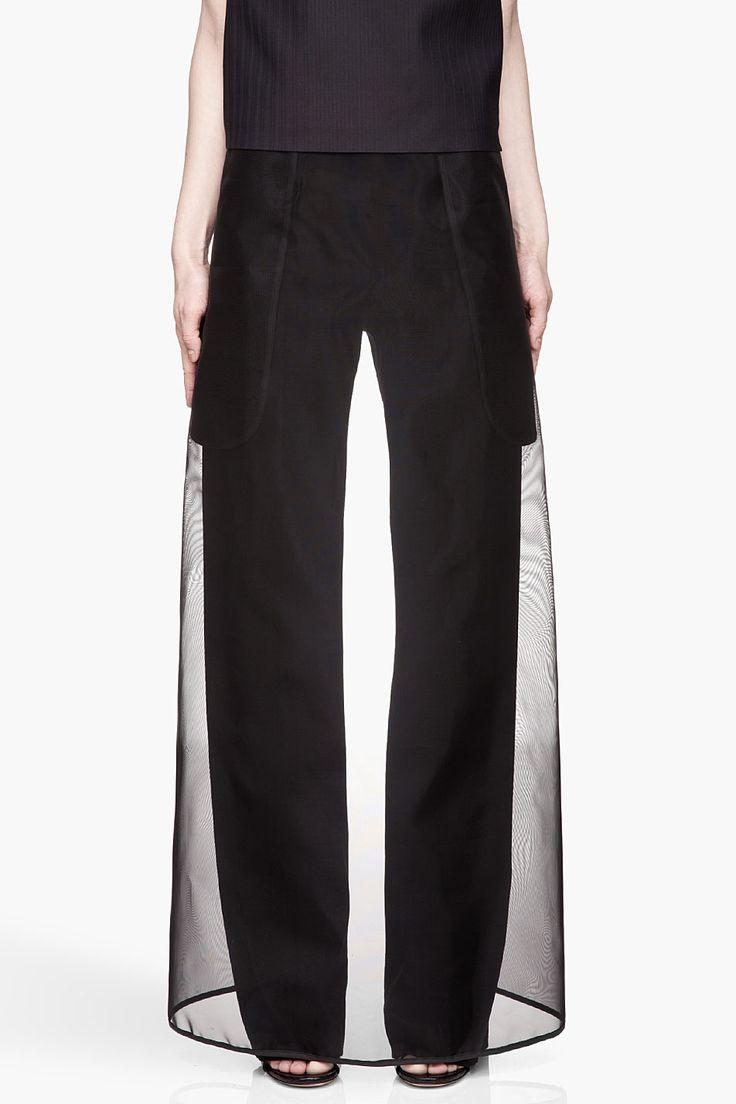 MAISON MARTIN MARGIELA Black sheer skirt layered Trousers