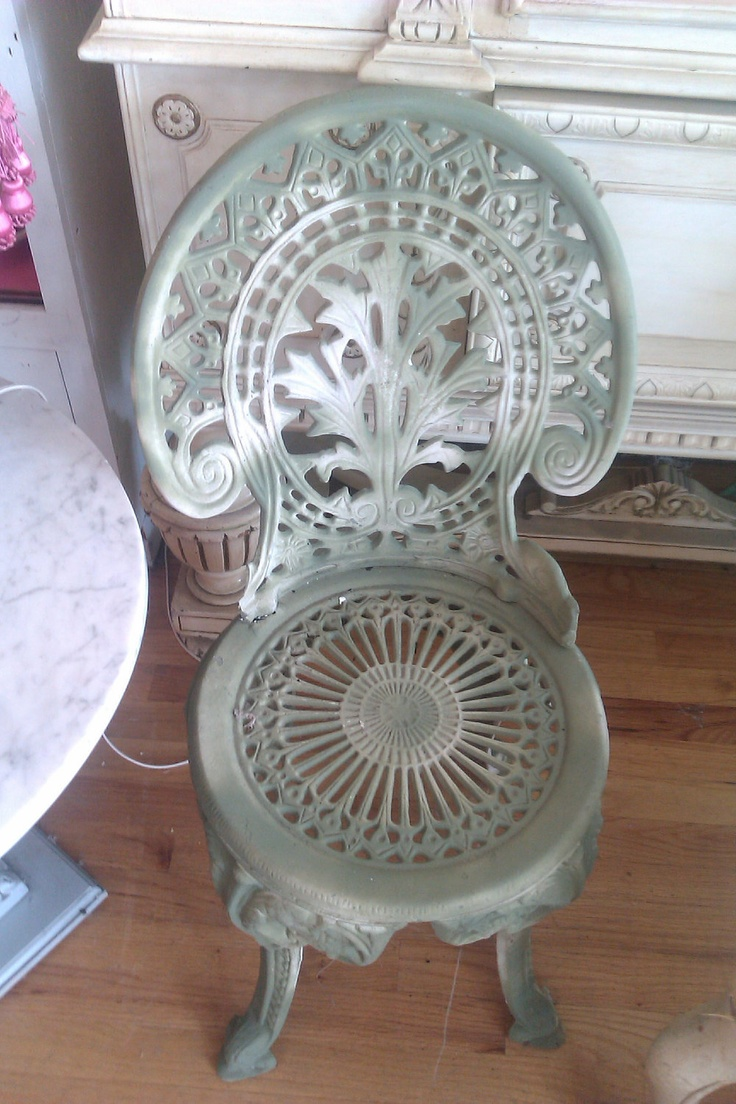 vintage cast iron garden chair antique patio shabby chic wrought cottage. $145.00, via Etsy.