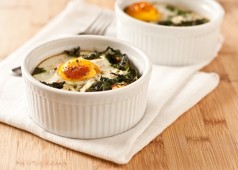 baked eggs with polenta, garlic, & chard. Modify. Bake @350? for about ...