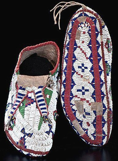 Moccasins   Sioux Beaded Hide Tin Cones & Horsehair 10