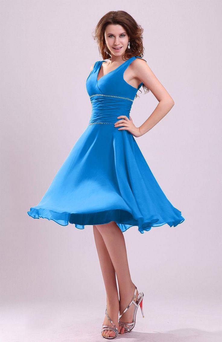 Top 25 best cornflower blue bridesmaid dresses ideas on pinterest cornflower blue bridesmaid dress cute a line sleeveless chiffon knee length ruching ombrellifo Choice Image
