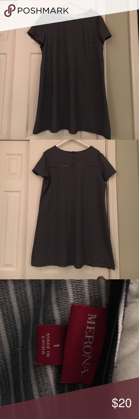 Merona Navy Blue and White Striped Dress Size 1X This Navy and white tee dress is so cute! Thanks so much for checking out this item today! We know that the shipping price is kinda ridiculous, so we suggest you bundle to get more for your money! You will also be saving money as well! Check out our bundle discount below! 💰reasonable offers welcome!  Please do not leave rude or unkind comments! Merona Dresses