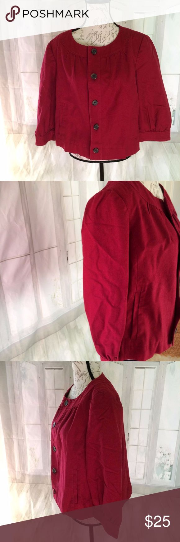 "Ann Taylor Factory Women's 14 Plus Red Career 60% cotton and 40% linen and lined in 100% polyester. Vintage style, button down, pleated. 19"" sleeve, 20"" long, 22"" bust Ann Taylor Jackets & Coats Blazers"