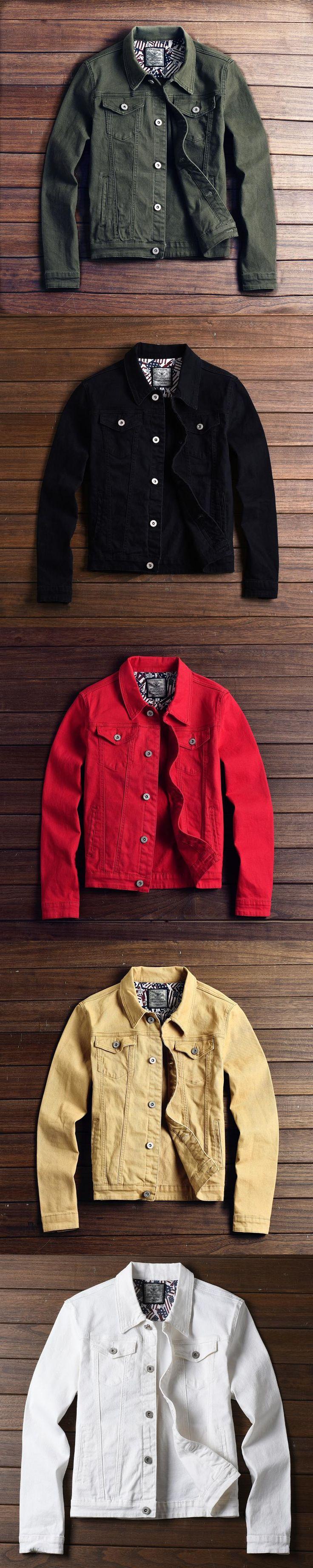 2017 New hot slim mens jackets and coats casual denim jacket men veste homme men jeans jacket male khaki black army green red