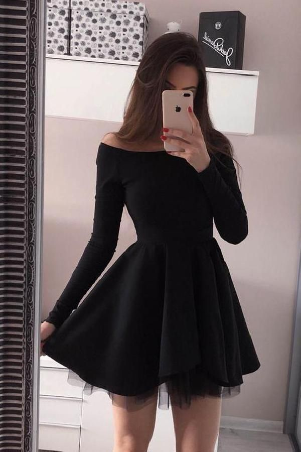 Cheap Excellent Long Sleeves Wedding Dress, Black Party Dresses, Simple Party Dresses