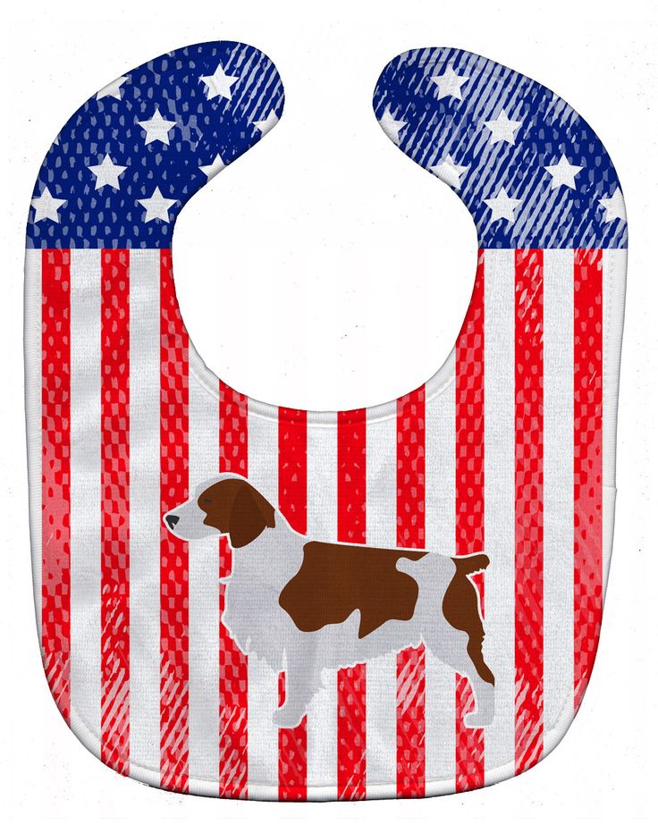 USA Patriotic Welsh Springer Spaniel Baby Bib BB3300BIB
