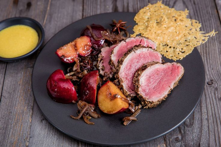 Caper Crusted Beef Fillet With Balsamic Plums - Make delicious beef recipes easy, for any occasion
