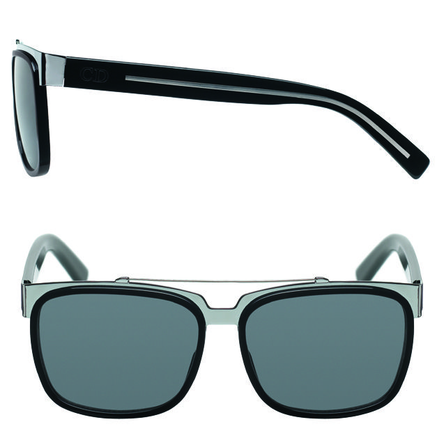 CHRISTIAN DIOR Black and silver metal frame aviators, price upon request; available at Saks Fifth Av