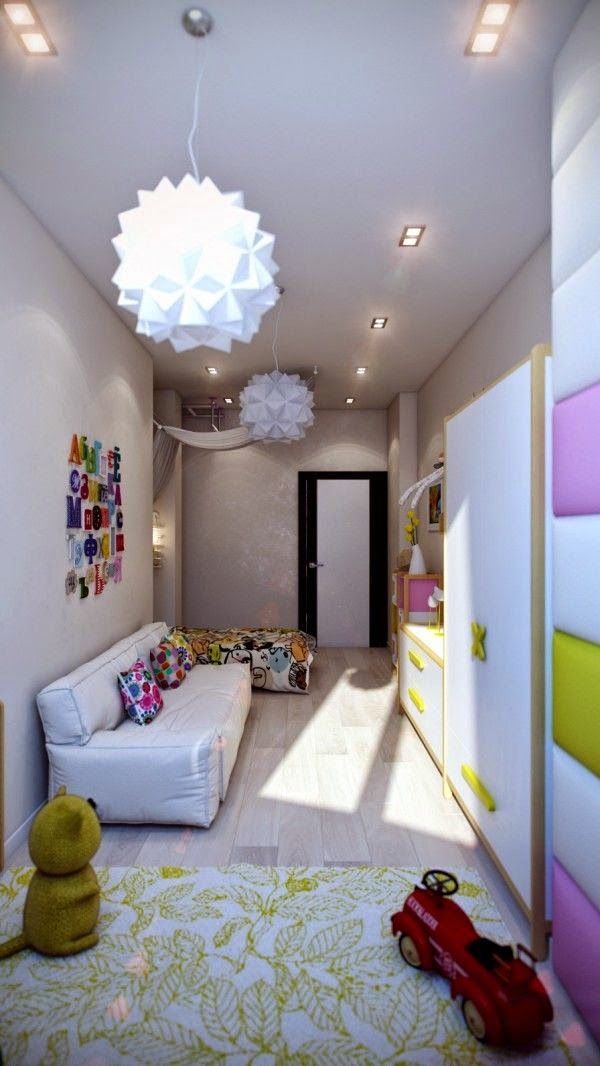 Narrow kids room in pale purple interior design and decoration ideas for children living areas