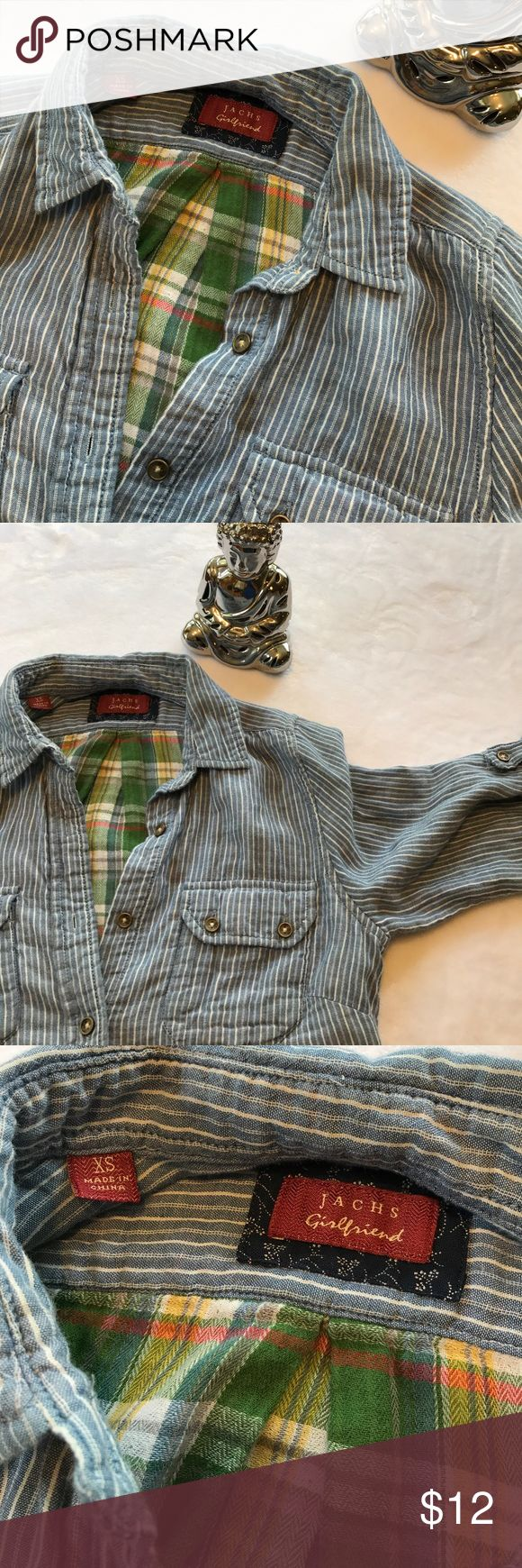 Jachs Girlfriend blue stripe green plaid flannel Jachs Girlfriend blue stripe green plaid flannel, size XS. So soft! Roll tab sleeves show green plaid flannel lining when rolled up. Cotton. Measures: armpit to armpit: 17.5  inches. Sleeve: 23 inches. Length: top collar to front hem: 24 inches; to back hem: 27 inches. Great condition and Great for fall! Jachs Girlfriend Tops Button Down Shirts