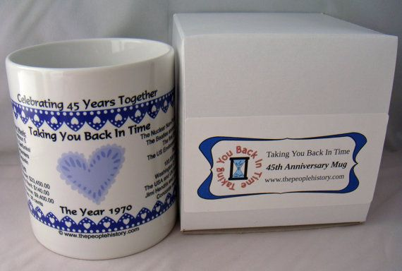 Pre-Made 1970 Anniversary Message Mug  by TakingYouBackInTime