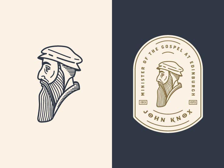Presbyterian graphic design!!!  John Knox 3: logo etching design profile man portrait enclosure