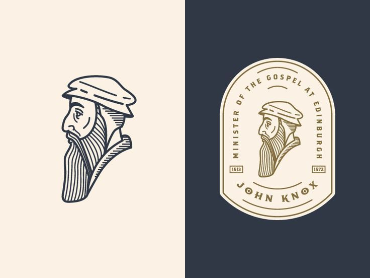 John Knox 3: logo etching design profile man portrait enclosure