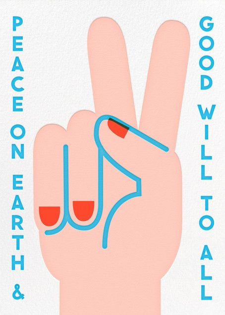 Peace Sign (Blue Trim) - online at Paperless Post