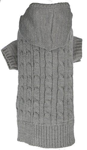 Grey Dog Classic Cable Pet Sweater Hoodie for Dogs, Medium (M) Size - http://www.thepuppy.org/grey-dog-classic-cable-pet-sweater-hoodie-for-dogs-medium-m-size/