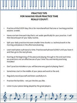 MUSIC: Practice Tips handout or laminate and display in your music room! FREE download.