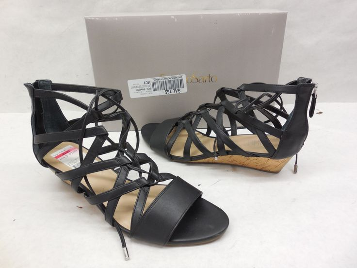 Franco Sarto Black Brixie Wedge Gladiator Sandals Size 9.5