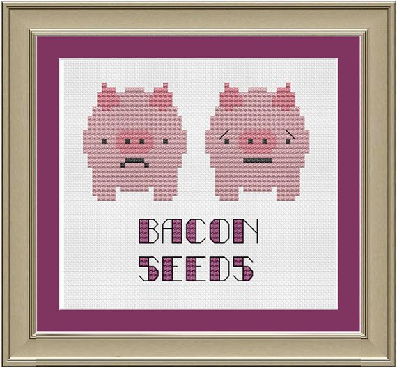 Bacon seeds funny pig crossstitch pattern by nerdylittlestitcher