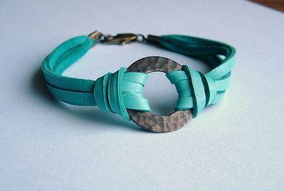 Simple leather bracelet tutorial.