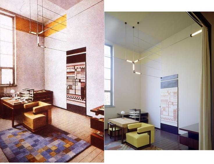 Walter Gropius' director's office, 1923 [left]. Rug desgined by Gertrud Arndt, wall hanging by Else Mögelin, and furniture by Gropius.