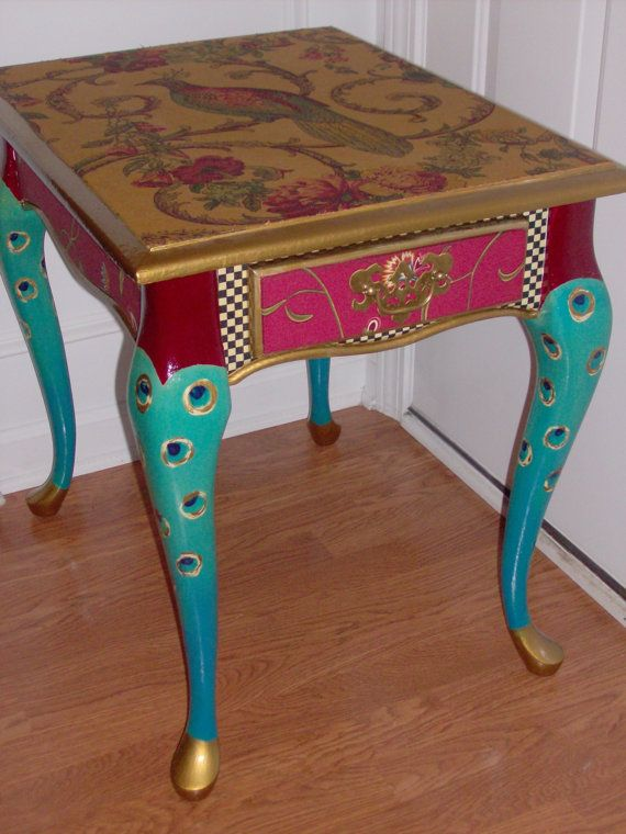 peacock decoupage furniture | Proud as a Peacock End Table - FREE shipping today