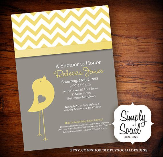 Baby Bird Theme Baby Shower Invitation with Chevron Grey and Yellow on Etsy, $22.42 AUD