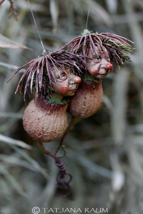 Pixie twins handmade decoration. wichtel by chopoli on Etsy