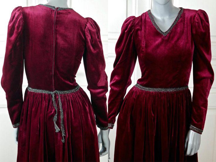 Long Red Velvet Dress, Elizabethan Style Game of Thrones Renaissance Dark Red Elegant Velvet Dress: Size 6 US, Size 10 UK by YouLookAmazing on Etsy