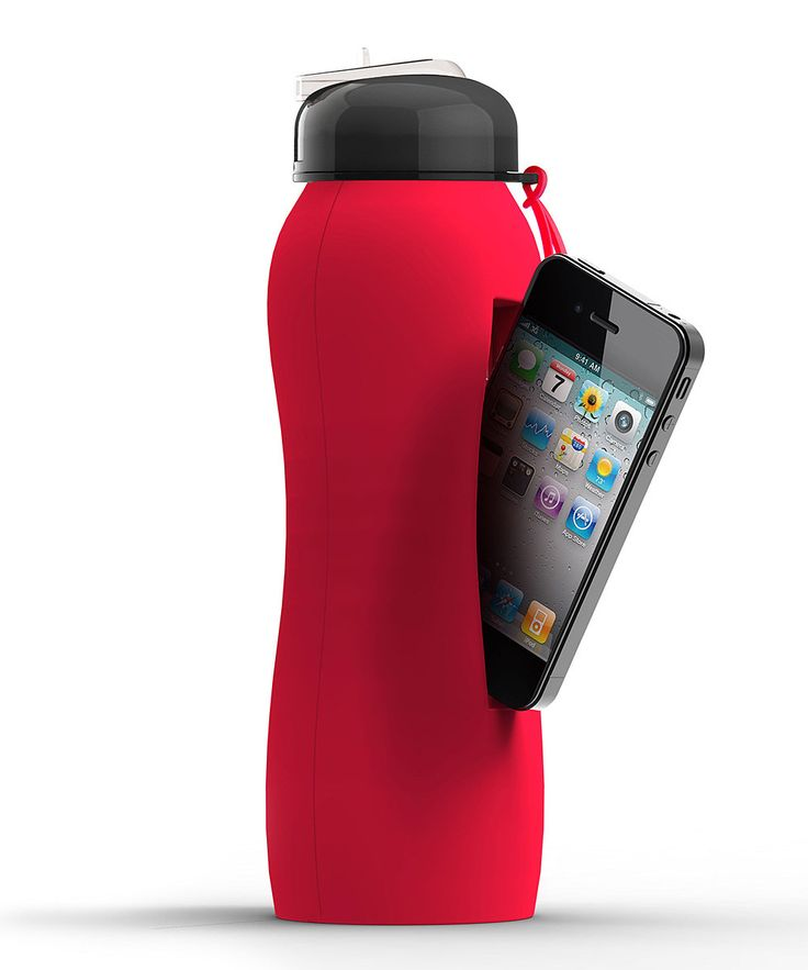 This clever workout water bottle holds a refreshing beverage and an iPhone. $13.00