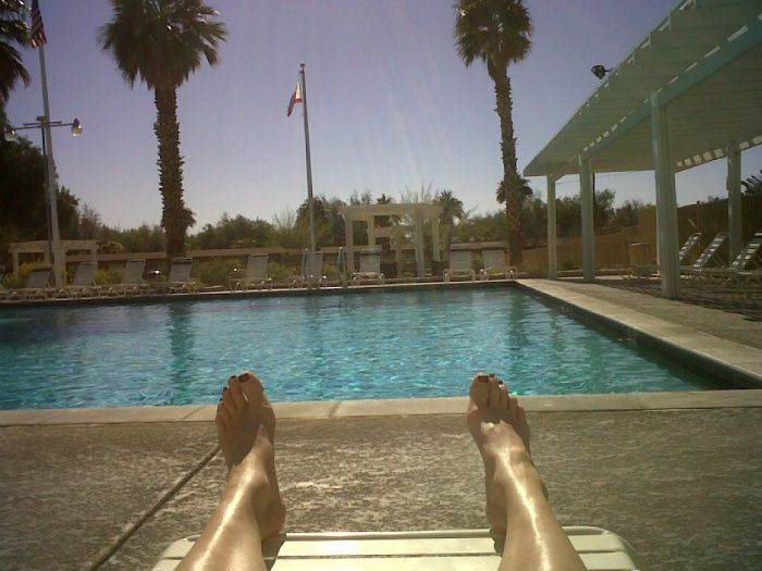 Chilling by the spring fed swimming pool at the Furnace Creek Ranch, Death Valley, California, February 2013.  Perfection!