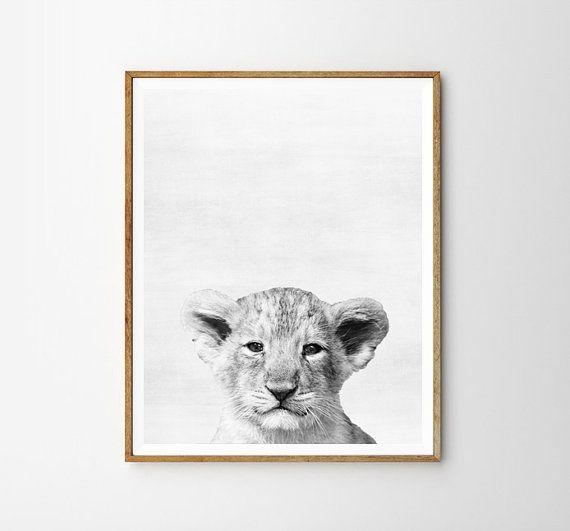 Baby leeuw kwekerij dier kinderen kamer moderne kunst