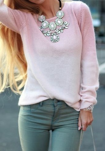 Dark mint jeans, light pink sweater, J. Crew statement necklace.