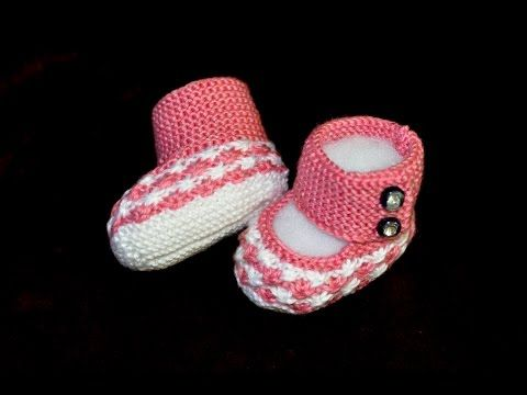 How to Knit Boot Style Red and White Baby Booties Part 1 - Right Bootie - YouTube