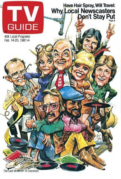 TV Guide February 14, 1981 - Richard Sanders, Jan Smithers, Gordon Jump, Frank Bonner, Loni Anderson, Gary Sandy, Howard Hesseman and Tim Reid of WKRP in Cincinnati. Illustration by Jack Davis