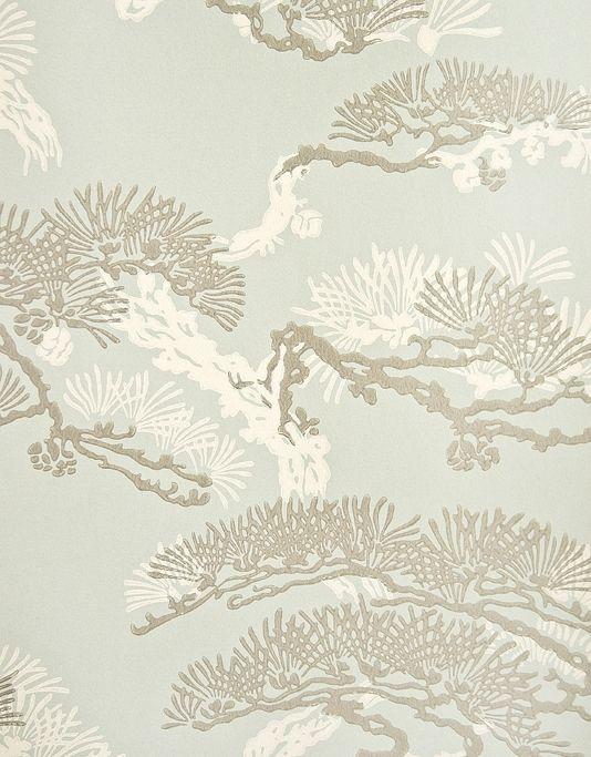 Eastern Pine Wallpaper Pewter and White gnarled botanical print on aqua wallpaper.