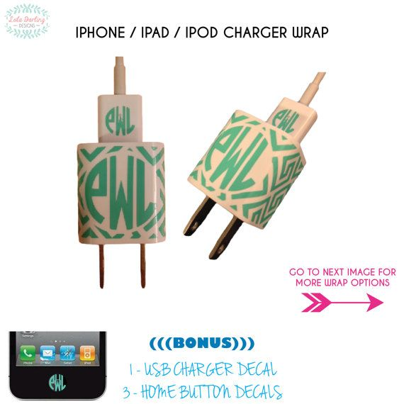 iPhone / iPad / iPod Charger Wrap with <<BONUS>> (1) USB Decal & (3) Home Button Decals