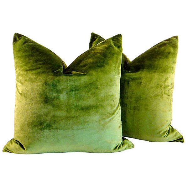 Pre-Owned Peridot Silk Velvet Pillows Pair ($599) ❤ liked on Polyvore featuring home, home decor, throw pillows, pillows, furniture, green, green toss pillows, green accent pillows, mint green throw pillows and set of 2 throw pillows