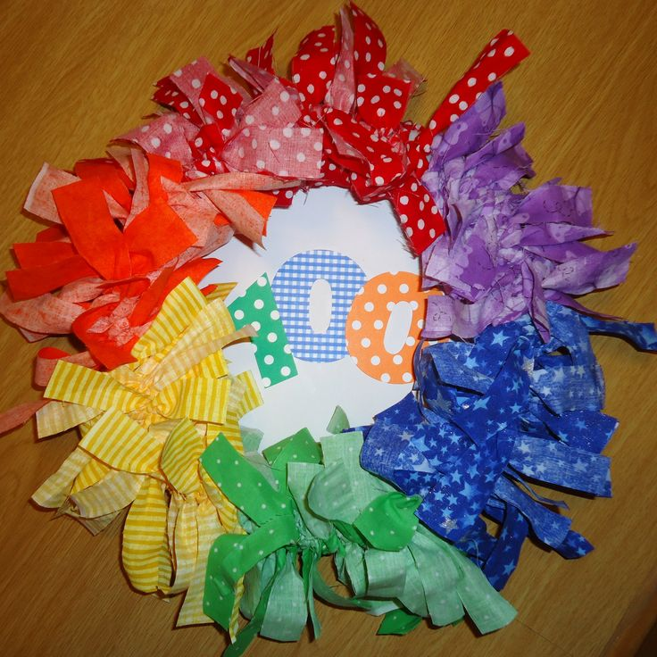 1st Grade 100th Day of School project -- 100 strips of Fabric Wreath. Mom did all the cutting; First grader tied all the strips. :)
