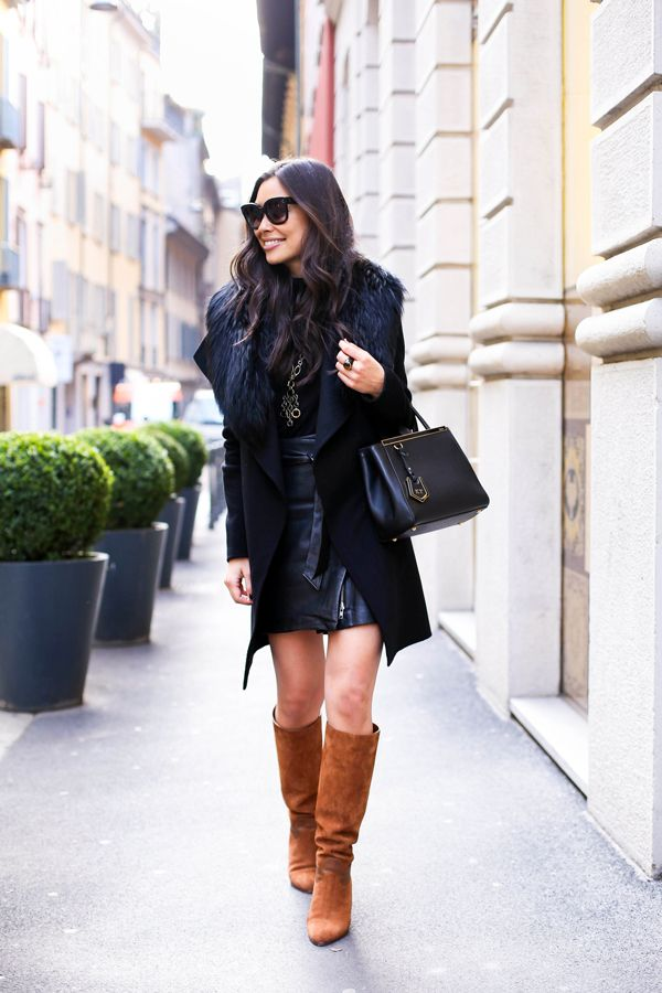 Black Leather Skirt With Brown Boots Favourite Blogger Looks