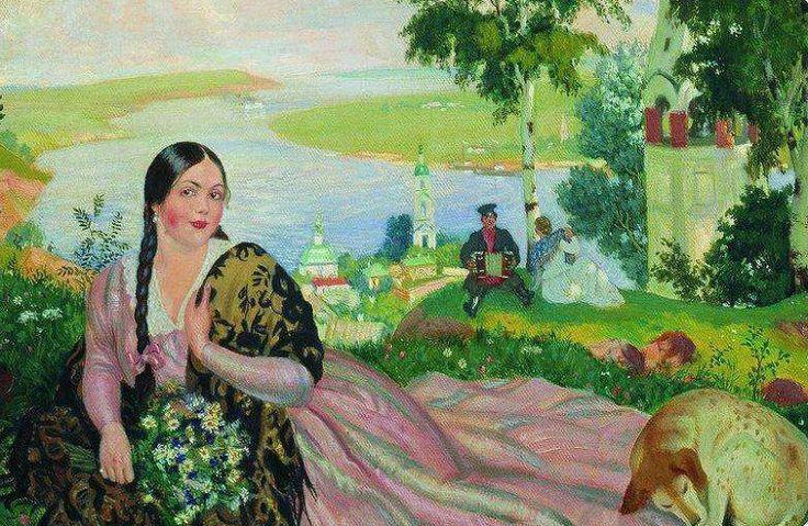1915 ДЕВУШКА НА ВОЛГЕ, by Boris Kustodiev (1878~1927)