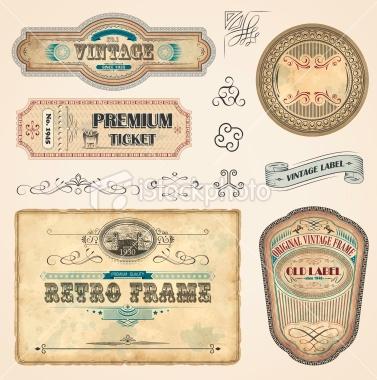 Set of Vintage Labels - Royalty Free Stock Vector Art Illustration