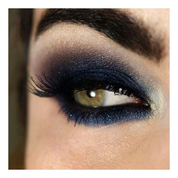 Blu scuro shimmer per occhi verdi ❤ liked on Polyvore featuring beauty products and makeup