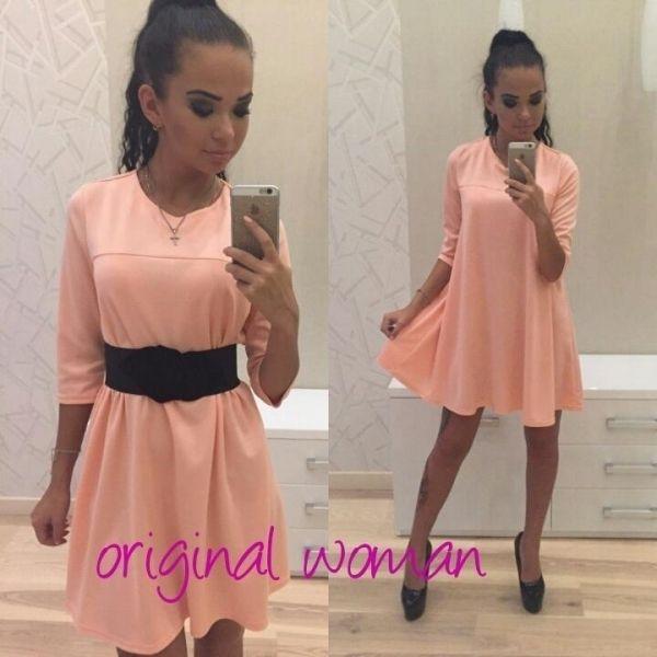 Платье очаровательное клеш под пояс стильное персик
