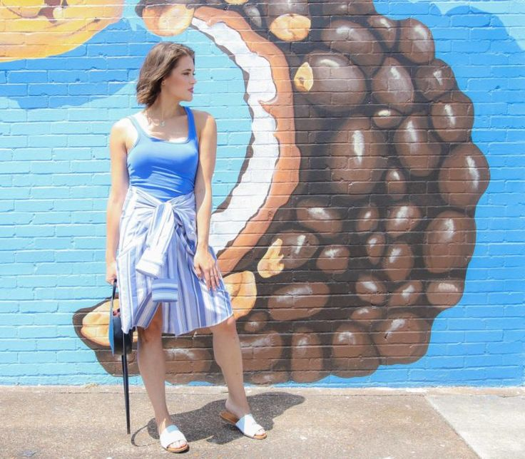 With a 99 cent men's shirt from Goodwill, no cutting or sewing required, Goodwill Digger reinvented a lackluster men's shirt into a sassy and fun skirt and off the shoulder top.