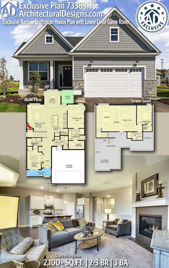 plan 73383hs exclusive narrow craftsman house plan with lower level rh pinterest com