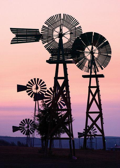 historic collection of windmills, Comstock Nebraska.  Photo: R. Neibel