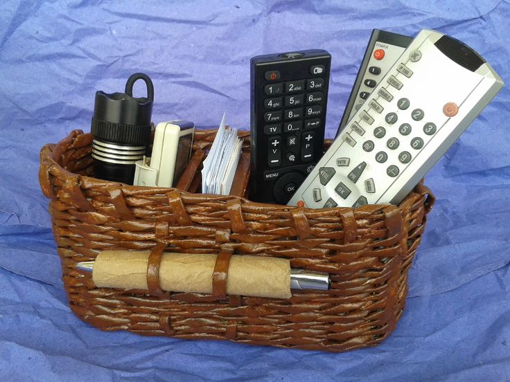remote controll basket - kumanda sepeti - diy - newspaper crafts - geri dönüşüm - art - sanat - upcycle - handmade